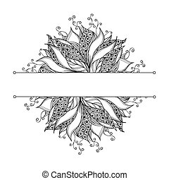 Card template with fantasy black and white flower