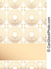 Card template with floral vintage pattern