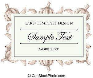 Card template with fresh garlic