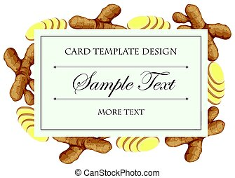 Card template with fresh ginger on border
