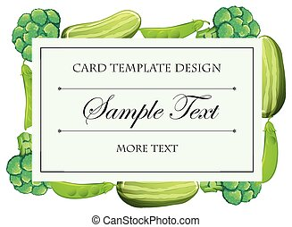Card template with green vegetables