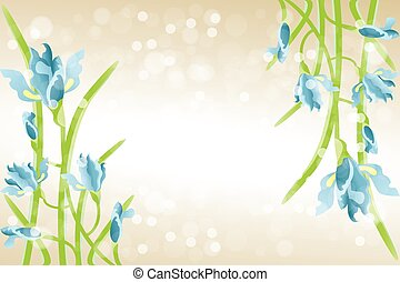 Card template with Iris flowers
