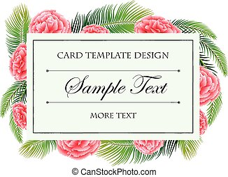 Card template with pink flowers