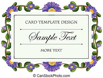 Card template with purple flowers