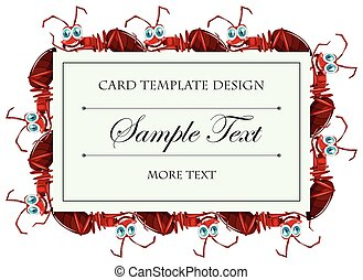 Card template with red ants