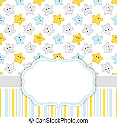Card Template with Stars Background.  Baby Boy Shower Vector Illustration.