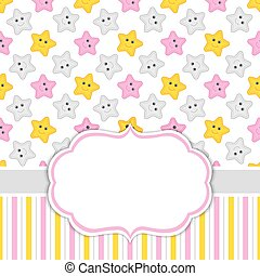 Card Template with Stars Background.  Baby Girl Shower Vector Illustration.