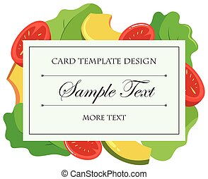 Card template with vegetables
