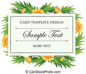 Card template with yellow calendula