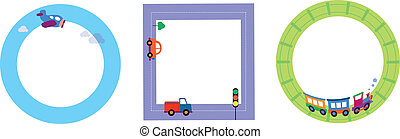 card templates with toy transportation, illustration