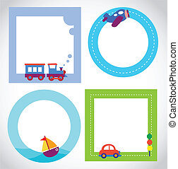 card templates with toy transportations , vector...