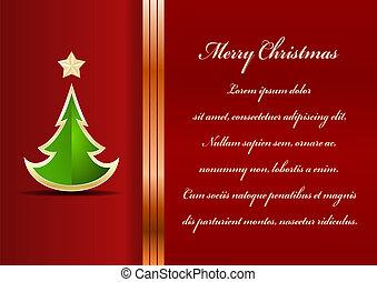 card., text., albero, natale, posto, fondo, tuo, celebrazione