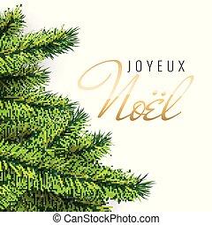 card., texto, saludo, francés, noel., joyeux, feliz navidad