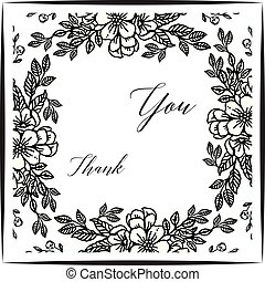 Card thank you, with pattern of leaf floral frame. Vector