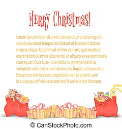 Card, the banner with Christmas gifts and bags of Santa Claus. Cute boxes for birthday and new year. Templates for text and greetings. Isolated on a white background