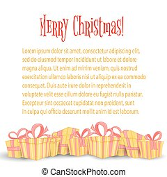 Card, the banner with Christmas gifts. Cute boxes for birthday and Valentine's day. Templates for text and greetings. Isolated on a white background.