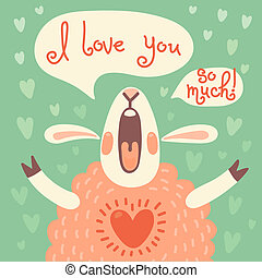 Card to the birthday or other holiday with cute sheep and a...