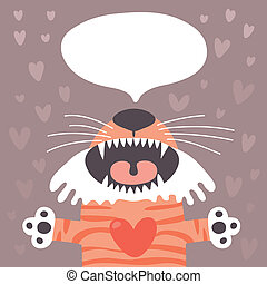 Card to the birthday or other holiday with cute tiger