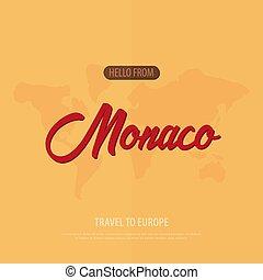 card., touristic, viaje, saludo, france., vector, monaco.,...