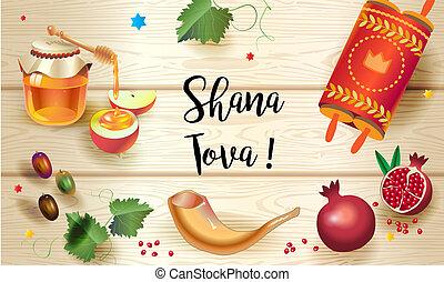 card., tova!, feliz, año, nuevo, shana, judío, rosh hashanah...
