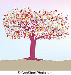 card., träd, eps, mall, hjärtan, 8, romantisk