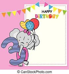 card., três, número, aniversário, elefante, balões, feliz