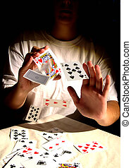 Card Tricks - Woman with playing cards