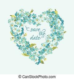 card-, uitnodiging, -, datum, vector, retro, trouwfeest, floral, sparen, kaart