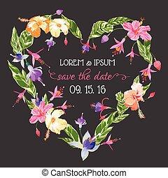 card-, uitnodiging, -, tropische , datum, vector, trouwfeest, floral, sparen, kaart