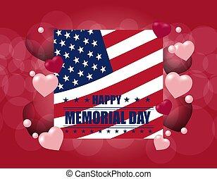 card., usa, fête, flag., national, postcard., illustration, honneur, nous, affiche, mémoire, vacances, bannière, ou, jour, heureux