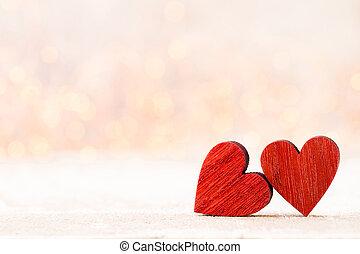 card., valentines, saludo, dos, hearts., día