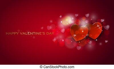 card., valentines, salutation, cœurs, shinning, jour, heureux