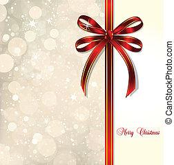card., varázslatos, íj, vektor, háttér, karácsony, piros