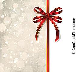card., varázslatos, íj, vektor, karácsony, piros
