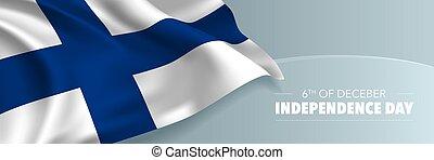 card., vecteur, indépendance, finlande, jour, bannière, salutation