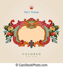 card., vendange, salutation, retro, floral, frame.