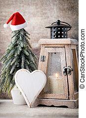 card., versiering, candlestick., lantern., groet, cristmas,...