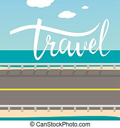 card., viagem, modernos, mão, calligraphy., desenhado