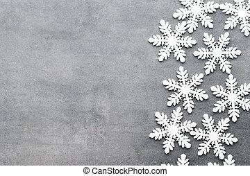 card., vindima, snowflakes, saudação, style., fundo, natal