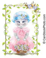card., violets., rocznik wina, ułożyć, powitanie, kot, basket., urodziny, portret, święto, bluszcz, congratulation.
