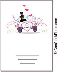 Card Wedding Car - Illustration of a Wedding Car Driving...