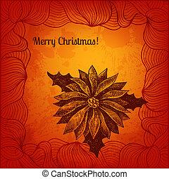 card., winterberry, mano, vector, dibujado, navidad