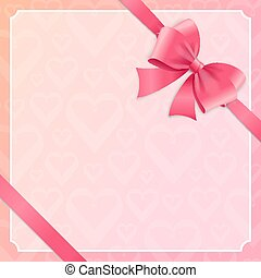 Card witch Silk Pink Ribbon and Bow. Vector