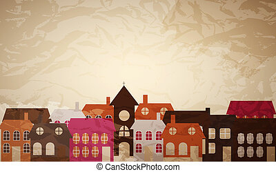 Card with a beautiful little town. Vector illustration