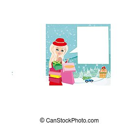 Card with a beautiful woman doing the shopping in winter