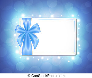 Card with a blue ribbon