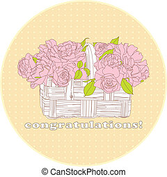 card with a bouquet of roses