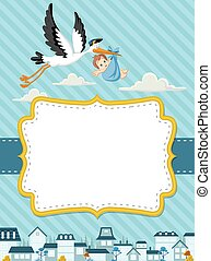 cartoon stork delivering a newborn baby boy - Card with a...