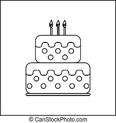 Card with a cream cake and burning