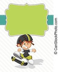 cute happy cartoon boy on a skate